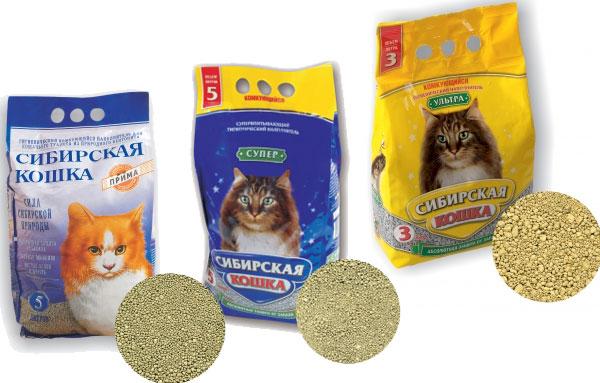 Комкующиеся из бентонита наполнители для кошачьего туалета сибирская кошка