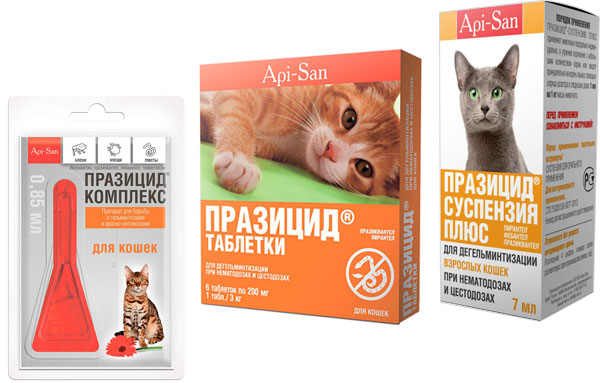 Формы выпуска препарата празицид для кошек
