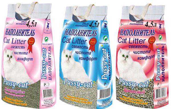 Разнообразие наполнителя  для кошачьих туалетов pussy-cat