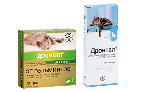 Упаковки дронтала для кошек